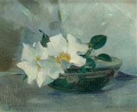 still life with wild roses by laura coombs hills
