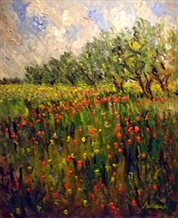 field of poppies and olive trees by samir sammoun