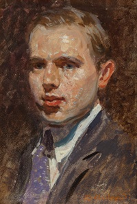 portrait of a man in a purple tie by richard andrew