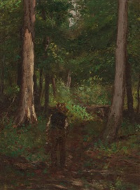 figure on a forest pathway by charles stanley reinhart