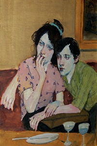 couple in cafe by malcolm liepke