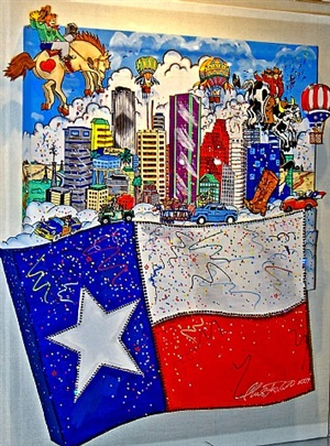 the flying texas flag by charles fazzino