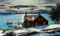 quiet harbor, monhegan island by andrew winter