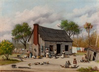 sharecroppers gathering in the yard by william aiken walker