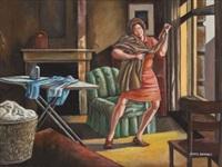 woman ironing by ernie barnes