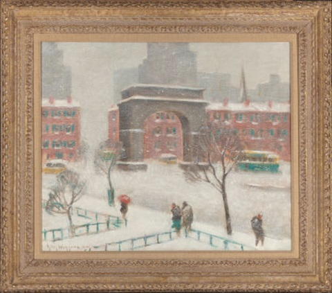 winter on washington square by guy carleton wiggins
