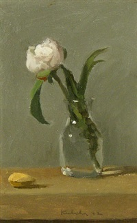 single white peony in glass with almond by robert kulicke