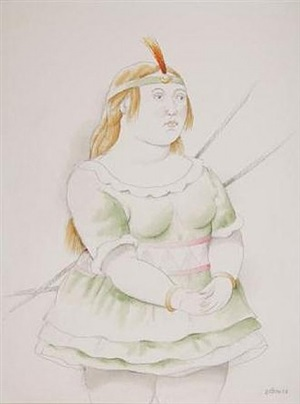 danseuse au tutu vert et à l'aigrette orange by fernando botero