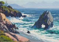 needle rock, mendocino coast, california and smoke trees, palm springs, california (pair) by carl sammons