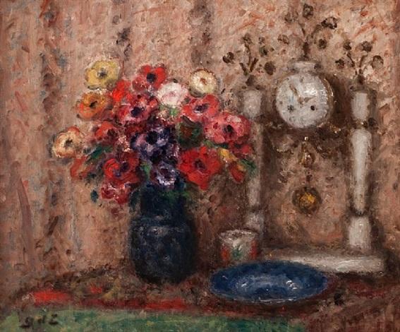 pendule et vase des fleurs by georges d'espagnat