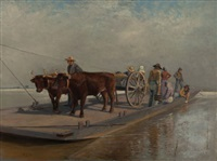barge crossing by thomas corwin lindsay