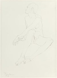 sitting nude (two works); 1995 by robert graham