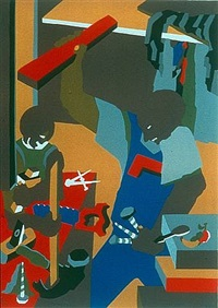 builders three by jacob lawrence