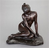 seated young maiden with snail by paul aichele