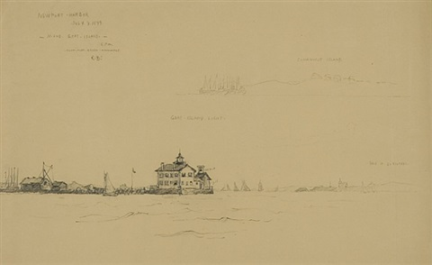 newport harbor july 7, 1899: north end, goat island 5 pm by reynolds beal