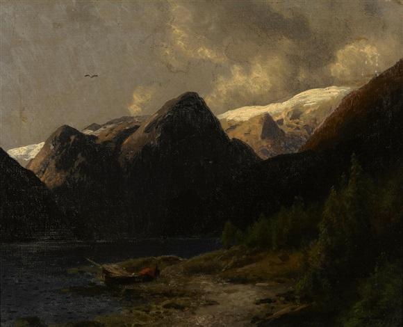 mountain lake by hermann herzog