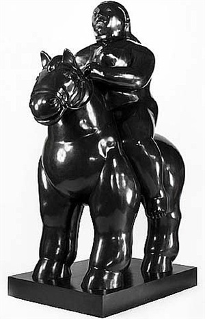 woman on horse by fernando botero