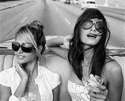 giselle karina bacallao moreno and rachel (painter/artist/md muse) going for a spin on the malecon, habana by michael dweck