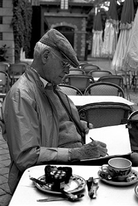 henri cartier bresson sketching in the bois de boulogne, paris by john loengard