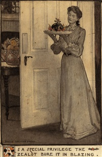 as a special privilege the zealot bore it in blazing (for scribner's magazine story illustration) by jessie willcox smith