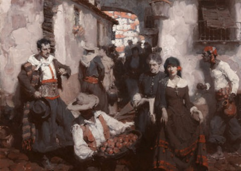 spanish street scene valencia from cosmopolitan magazine story illustration by mead schaeffer. Black Bedroom Furniture Sets. Home Design Ideas