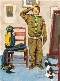 can't wait, study for the boy scouts of america calendar illustration by norman rockwell