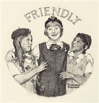 friendly, the franklin mint girl scouts ingot series by norman rockwell