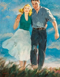 couple walking in a field by harvey t. dunn