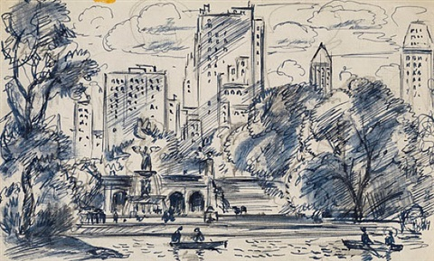 south towards bethesda fountain, central park by gifford beal