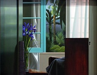 untitled, interior with blue iris by bruce cohen