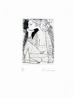 femme assise en tailleur: geneviève laporte (bloch 1837) by pablo picasso