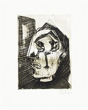 femme qui pleure devant un mur (bloch 302) by pablo picasso