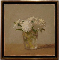 white flowers in a glass—not for sale by robert kulicke