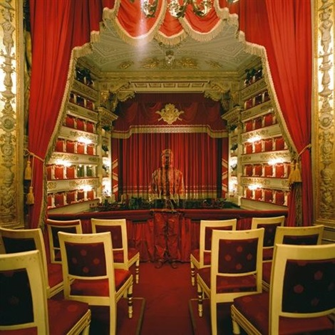 hiding in the city royal box at teatro alla scala by liu bolin