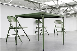 no title (folding table and chairs, green) by robert therrien