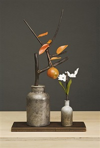 pewter jar and paperwhites by david kimball anderson