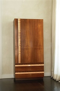andre sornay armoire, mahogany with cedar-lined interior and copper hardware by andré sornay