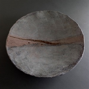 "claire debril gray ceramic plate/shallow bowl with one mauve and one taupe irregular stripe across the center, signed on back - illegible, claire ""debril"" by claire debril"