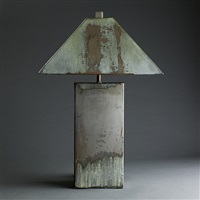 galvanized metal lamp in shades of green and gray