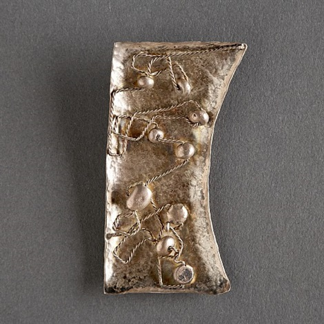 renato bassoli hammered sterling pendant with raised elements by renato bassoli
