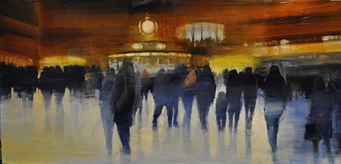 new york city, grand central station, holiday traffic by david allen dunlop