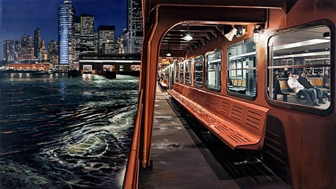 staten island ferry arriving manhattan by richard estes