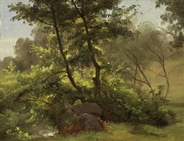 underbrush by a stream, dresden by christian friedrich gille