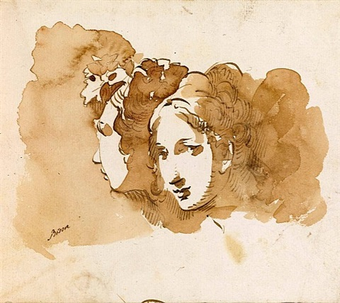 two heads of young woman by giuseppe bernardino bison
