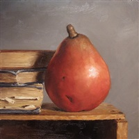 red pear with books (sold) by michael naples