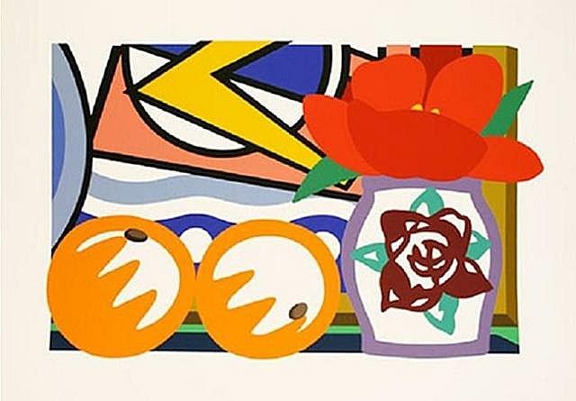 still life with lichtenstein & two oranges by tom wesselmann