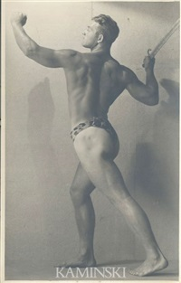 partially nude physique portrait of christopher battalino (american 1908 - 1977) by edwin f. townsend