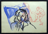woman smoking drawing by david salle