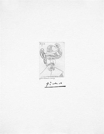 barbu au chapeau orne d'un grelot, from the 347 series, 5 august, 1968, mougins by pablo picasso