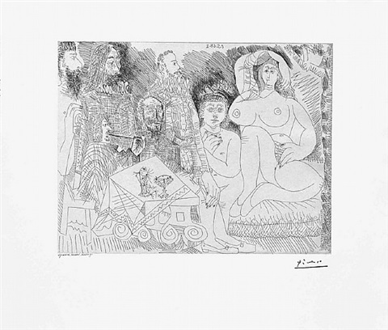 autour de la celestine: collation au jardin avec jeune bacchus gras, from the 347 series, 8 may, 1968, mougins by pablo picasso